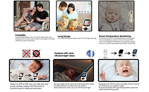 2018 Model Total Connection Company Video Baby Monitor, Wireless, Digital Camera, 2.4'' LCD Display, Clear Infrared Night Vision, Temperature Monitoring, 2-Way Talk, Newborn Lullaby (Camera+Monitor) by Total Connection Company (Image #2)