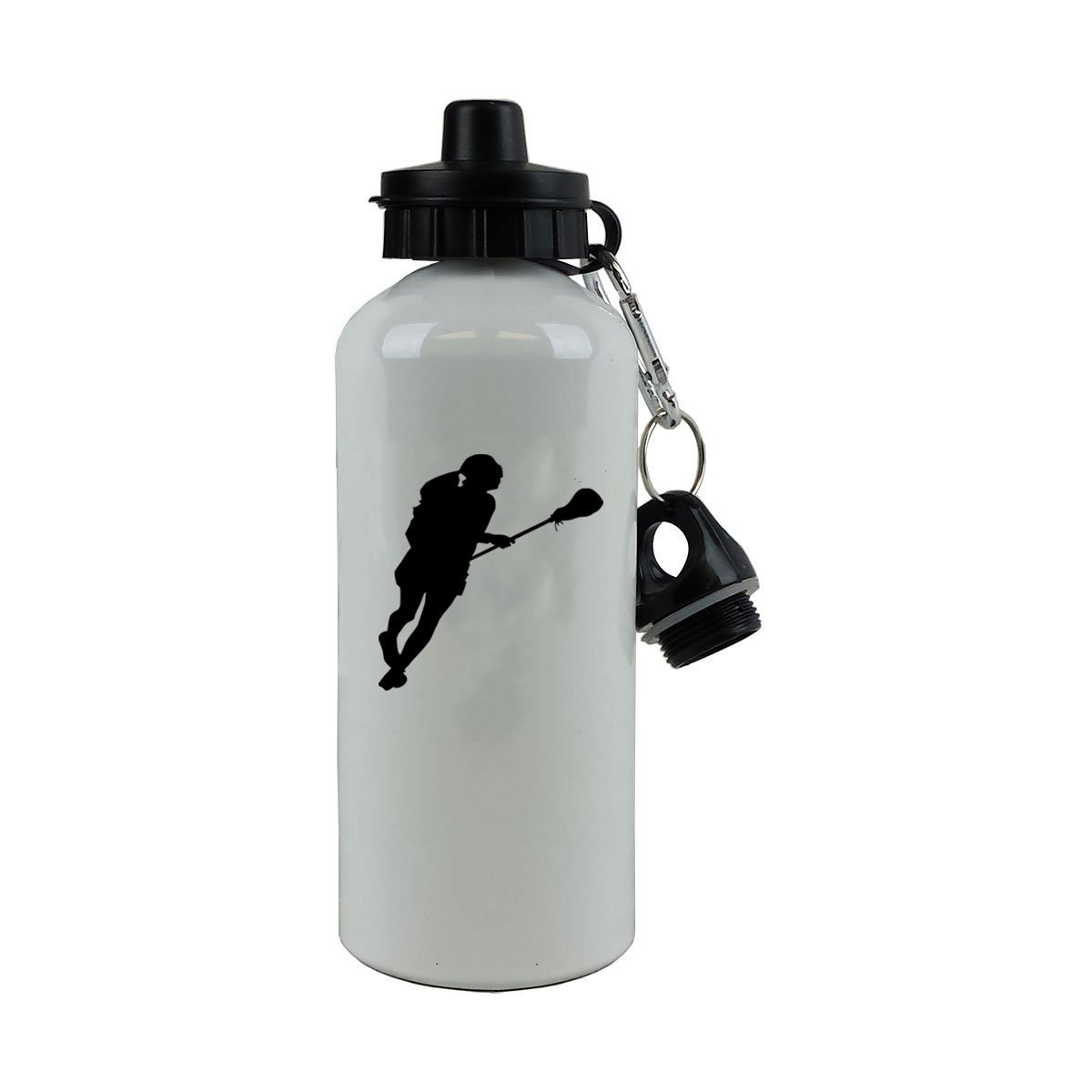 Personalized Custom Female Lax, Lacrosse Player Aluminum White Finish 20 Ounce 600ML Sport Water Bottle Customizable