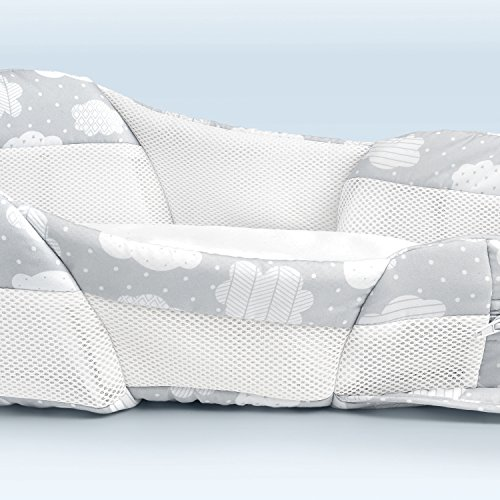 Baby Delight Snuggle Nest Harmony Infant Sleeper/Baby Bed with Incline Wedge | Silver Clouds Fabric Pattern | Portable Bassinet/Co-Sleeper with Sound & Light Unit | Waterproof Foam Mattress w/Sheet by Baby Delight (Image #3)