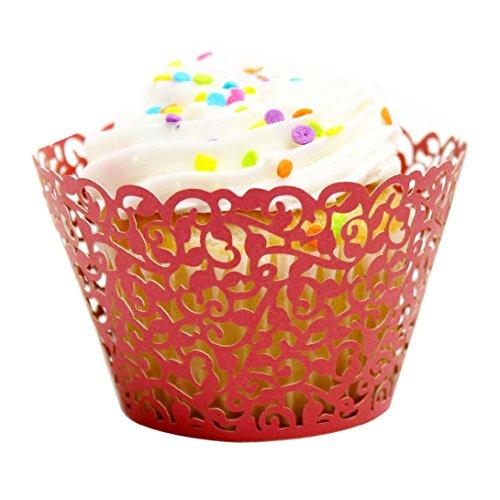 (Wensltd 24pc New! Little Vine Lace Laser Cut Cupcake Wrapper Liner(pack of 24) (Red))