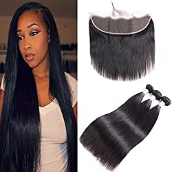 Brazilian Human Hair 3 Bundles Straight Hair With Lace Frontal With Baby Hair(20 22 24 + 18), 8A Unprocessed Brazilian Straight Virgin Remy Hair Weave Weft With 13x4 Ear To Ear Frontal, Natural Color