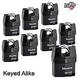 Master Lock Pro Series Padlock - (8) High Security Locks 6327NKA-8 w/ BumpStop Technology