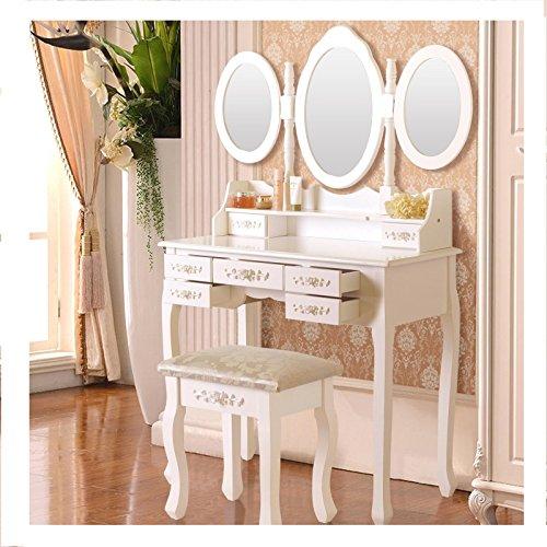 Cheap  White Vanity Wood Makeup Table Desk Dressing Set w/Stool 7 Drawer&Folding Mirror..