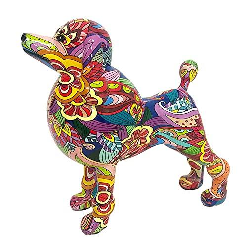 Graffiti Dog Statue Multicolor Resin Dog Statue Creative Graffiti Animal Ornaments Collectible Figurines Living Room Home Office Desktop Decoration