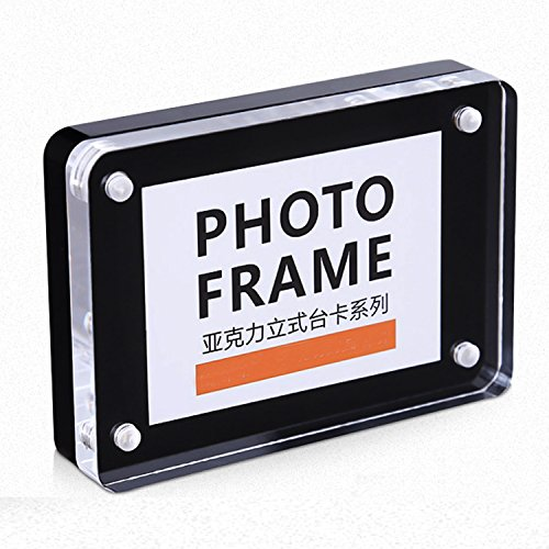 Round Acrylic Award Clear (Yakri Acrylic Magnetic Photo Frames,Double Side Display Perspex Picture Stands with Round Corner)