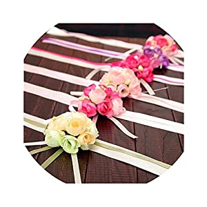 The Hot Rock-artificial flowers 20Pcs Wedding Bride Girl Bridesmaid Floral Hand Wrist Corsage Adjustable Ribbon Rose Bracelets Ceremony Party Prom Flower Decor 40