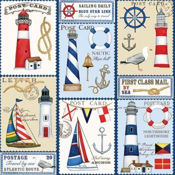 (Nautical Sailboat Stamp Gift Wrap Roll 24
