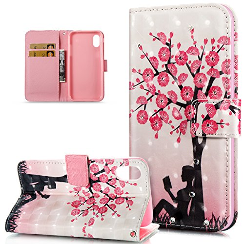 iPhone X Case,iPhone X Cover,ikasus Crystal Glitter Rhinestone Diamonds 3D Art Painted Butterfly Flower Flip Folio Wallet PU Leather Stand Card Slot Case Cover for Apple iPhone X,Cherry Blossoms Tree