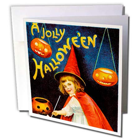 3dRose Scenes from The Past Ephemera - A Jolly Halloween Vintage Early 1900s Holiday Postcard Little Witch - 1 Greeting Card with Envelope -