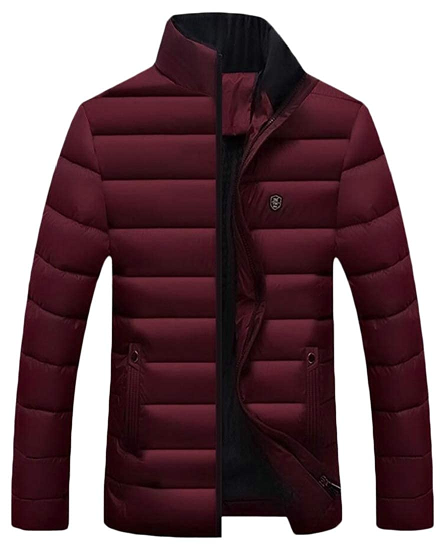 Generic Mens Thick Zip Slim Padded Winter Stand Collar Down Jacket Coat