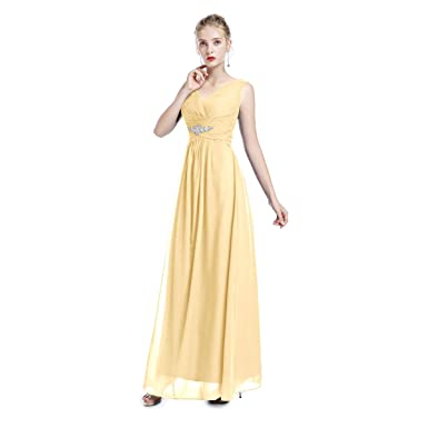 Womens Bridesmaids Formal Chiffon Wedding Prom Dress Spaghetti Strap Sleeveless V-Neck Maxi Dress Girls