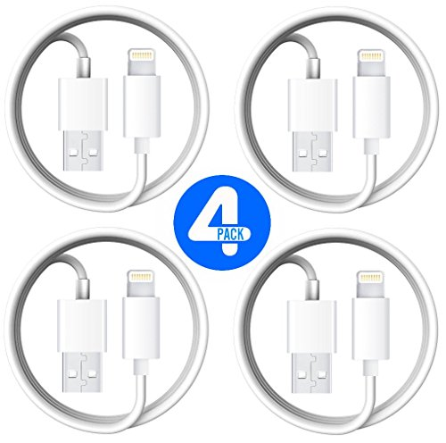 Lightning iPhone Cable, 4 Pack Certified Power Gadgets [Heavy Duty] 3 FEET/ 1 METER Lightning to USB Sync & Charge Cable Cord iOS10 iPhone, iPad, iPod (White)