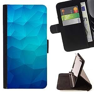 - Blue Polygon Ice Winter Pattern - Estilo PU billetera de cuero del soporte del tir???¡¯???3n [solapa de cierre] Cubierta- For Samsung Galaxy Note 4 IV ( Devil Case )