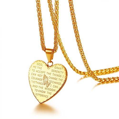 U7 Praying Hands Necklace Engraved with Christian Bible Lords Prayer Words 18K Gold Plated Heart Pendant Necklace