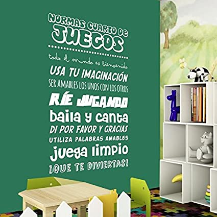 Vinilo decorativo Normas cuarto de juegos. Tamaño 35X65 cm. Color ...