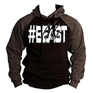 Interstate Apparel Inc #Beast Men's Hoodie Charcoal/Black S-2XL