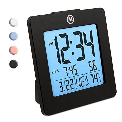 Marathon CL030050BK Digital Alarm Clock with Day, Date, Temperature and Backlight. Color-Black Digital Classroom Clock