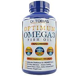 Dr. Tobias Omega 3 Fish Oil Triple Strength, Burpless, Non-GMO, 180 Counts