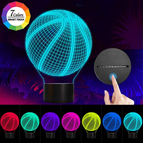 Basketball 3D Night Light, Llamaababie 3D Illusion Birthday Gift Lamp, 7 Colors Changing LED Lamps with Smart Touch for…