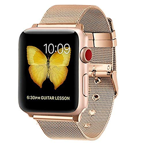 Kitt Sport Band Compatible for Apple Watch Band 38mm 40mm, Luxury Milanese Metal Sport Strap Replacement Bands Bracelet Wristbands for Apple Watch 4 3 2 1 Series, 38MM 40MM (Rose Gold) ()