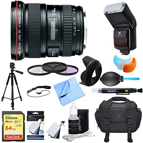 - Canon (8806A002) EF 17-40mm F/4 L USM Lens Ultimate Accessory Bundle includes Lens, 64GB SDXC Memory Card, Flash, Flash Cover, Tripod, 77mm Filter Kit, Lens Hood, Bag, Cleaning Kit and More