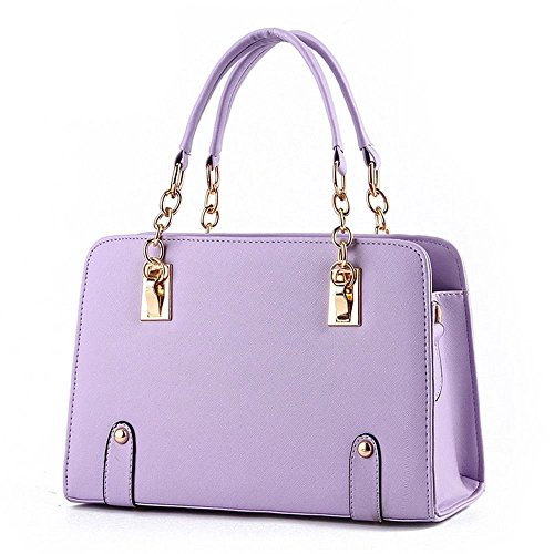 Van'an Womens PU Leather Vintage Beauty Fashionable Tote Bags Double With Top Handle Handbag(Purple) (Canvas Double French Wallet)