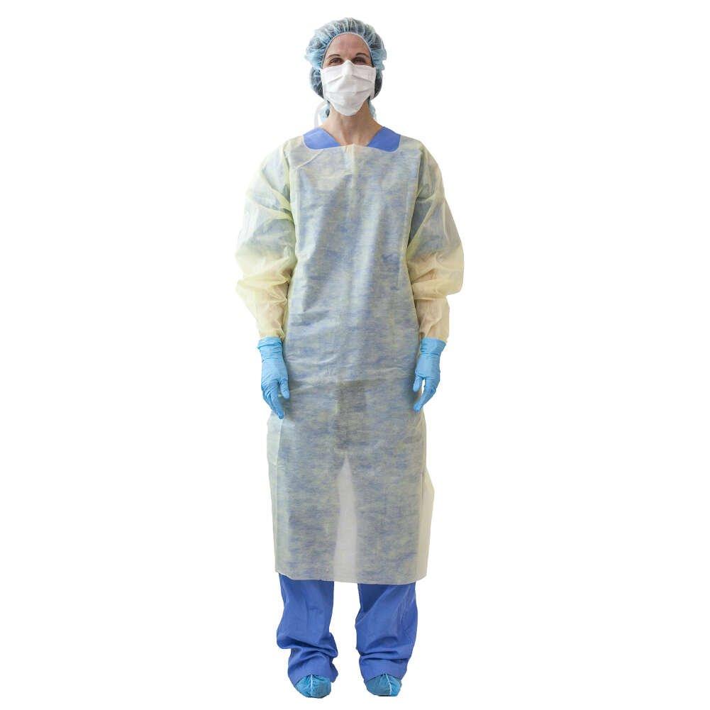 MediChoice Isolation Gowns, Open Back, Overhead,Thumbloop Cuff, Tie Waist, Spunbond Meltblown Spunbond, XL, Yellow (Case of 100)