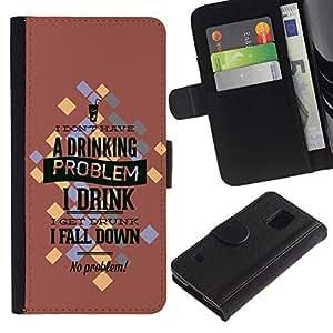 """Samsung Galaxy S5 V SM-G900 - Dibujo PU billetera de cuero Funda Case Caso de la piel de la bolsa protectora Para (""""Funny Drinking Problem)"""