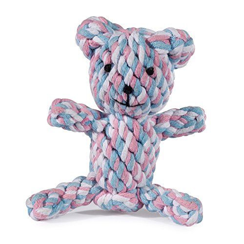 Zanies Rope Bear Dog Toys, Pink, Large, 5""