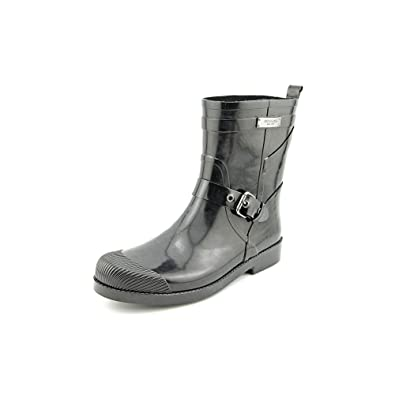Coach Lester Shiny Rubber Women US 6 Black Rain Boot