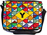 Rikki Knight Letter Y Monogram Vibrant Colors Stained Glass Design Design Combo Multifunction Messenger Laptop Bag - with Padded Insert for School or Work - Includes Wristlet & Mirror