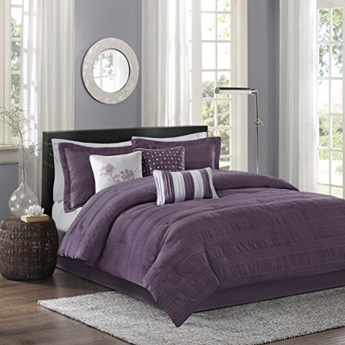 Madison Park Hampton King Size Bed Comforter Set Bed in A Bag - Purple, Jacquard Pleated Stripes - 7 Pieces Bedding Sets - Ultra Soft Microfiber Bedroom Comforters (Renewed)