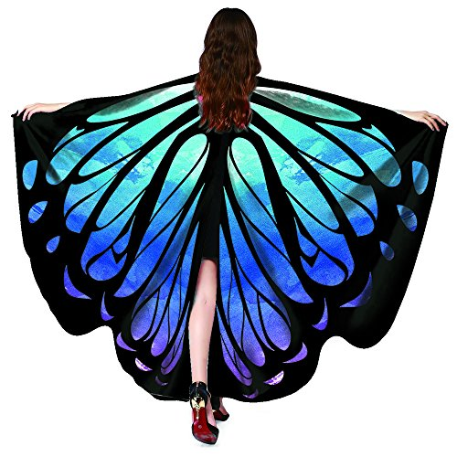 HitHopKing Butterfly Wings Costume for Women for Carnival, Women's Beautiful Eye-Catcher Butterfly Wings Scarf Costume Accessories Green (Blue 14, 66