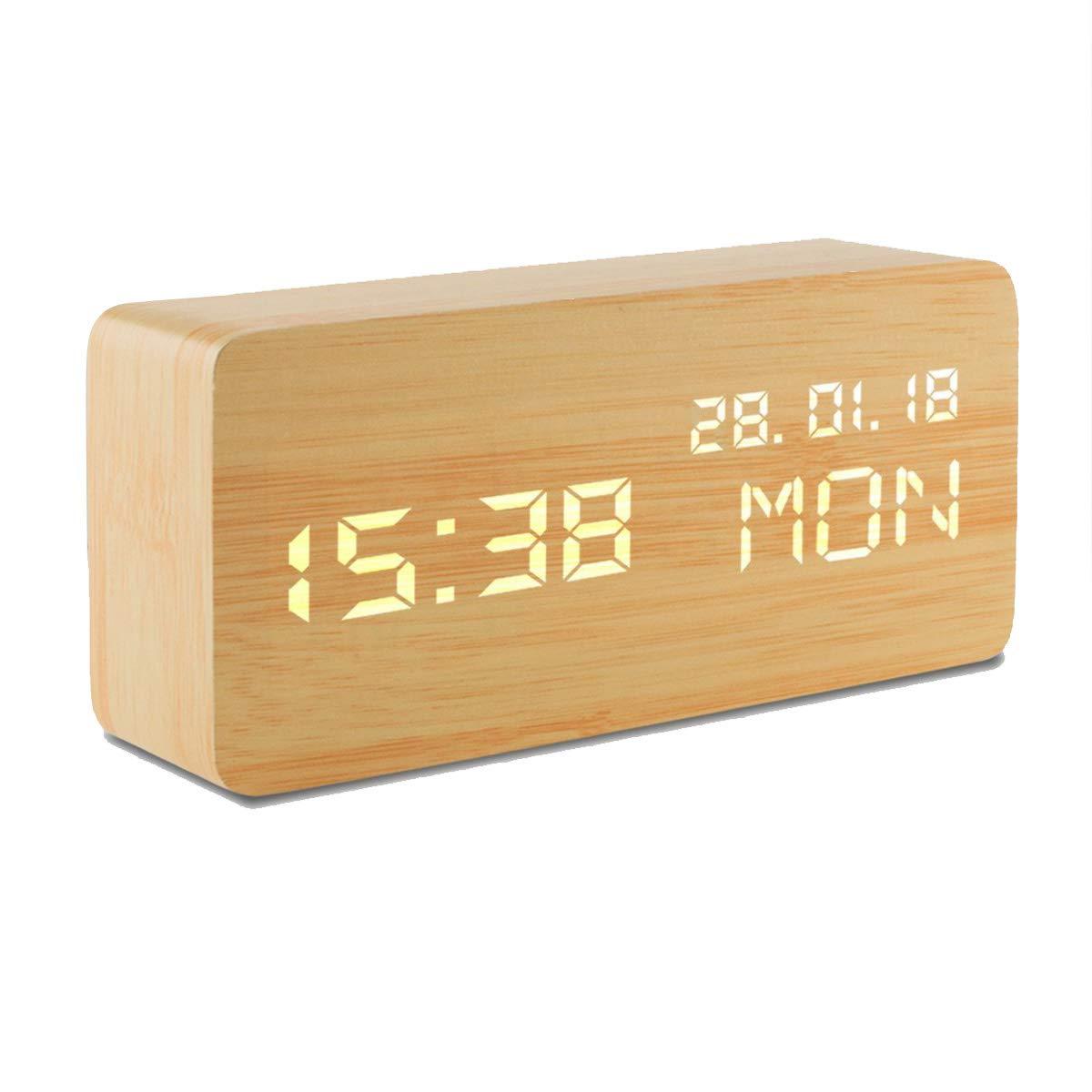 KARID Digital Alarm Clock,Wooden LED Alarm Clock,Displays Time Date Week And Temperature,Cube Wood-shaped Sound Control Desk Alarm Clock for Kid,Home,Office,Daily Life,Heavy Sleepers KaiRuiJieMaoYi Co. Ltd