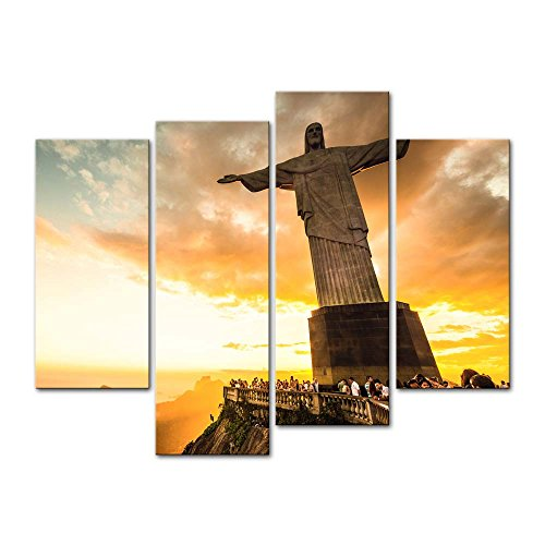 4 Pieces Modern Canvas Painting Wall Art The Picture For Home Decoration Christ The Redeemer Statue At The Top Of Corcovado Mountain In Rio De Janeiro Portrait Statue Print On Canvas Giclee Artwork For Wall Decor (Janeiro Rio De Statue)