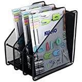 Canyixiu Home Office Desktop Organizer Metal Mesh Office Supplies Storage Rack, Mail Organizer, Post It Note Memo Pad Holder, Black 3 Compartment Storage for Office, School and Home Use