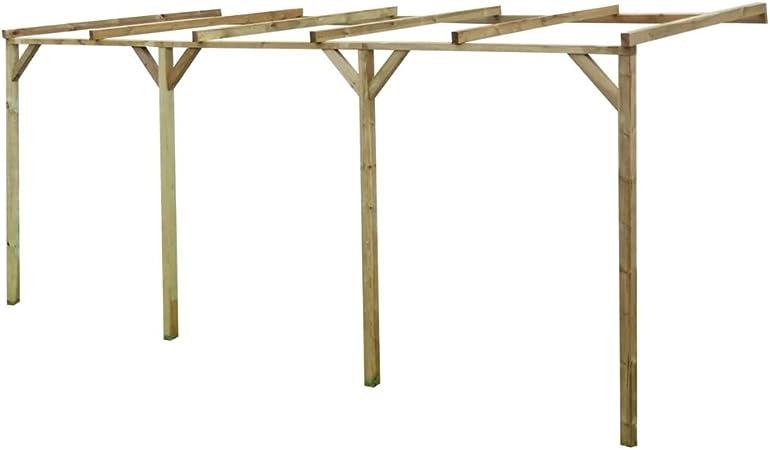 Tidyard Pérgola de Madera con Techo Inclinado de Resistente a la Putrefacción de Madera Impregnada de Pino Verde 2 x 5 x 2,2 m: Amazon.es: Hogar