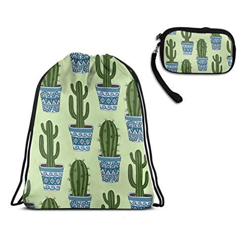 Sport Swim Drawstring Backpack Gymsack Sackpack - Cactus Plant Green Drawstring Rucksack, Large Size Lightweight Shoulder Bags + Travel Purse Wristlet Handbag ()