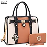 MMK Collection Two-Tone Simple Classic Women Pad-Lock Medium Size Women Fashion Satchel Top-Handle Handbag with Free Matching Color Wallet Set (MA-7103W-BR/BG)
