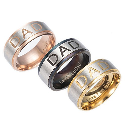 [YHY Jewelry 3 Pcs Stainless Steel DAD Ring,Black,Rose Gold,Gold Size 12] (Gold Gents Ring)