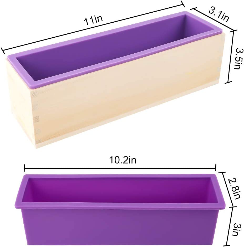 with Wooden Boxes 2 Cutters and 100pcs 4x6 inches Bags YGEOMER 2pcs 42oz Loaf Soap Mold Rectangular Silicone Mold Set for Making Soap