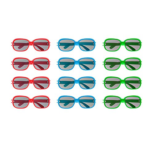 Plastic Color Assorted Round Style Children Sunglasses Shades Eye Wear for Party Prop Favors, Decorations, Toy Gifts (12 - Pack Novelty Sunglasses