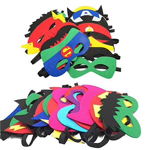 TEEHOME Superhero Masks Party Favors for Kid (33 Packs) Felt and Elastic -  Superheroes Birthday Party Masks with 33 Different Types Perfect for