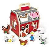 Melissa & Doug Wooden Take-Along Sorting Barn Toy with Flip-Up Roof and Handle – 10 Wooden Farm Play Pieces, Great Gift for Girls and Boys - Best for 2, 3, 4, and 5 Year Olds