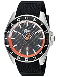 Lacoste Men's 2010904 Sport Westport - 3h Ss Case Black Silicone Strap with Black Bezel and Dial Watch