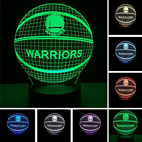 JFSJDF Basketball Warriors NBA Logo Golden State LED 3D Night Light 7 Colors Changing Table Desk Lamp Bedroom Sports Fans Decor - Nba Warriors Lamp