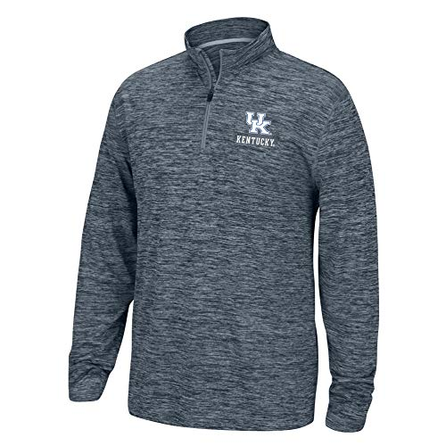 Top of the World NCAA Men's Kentucky Wildcats Dark Heather Space Dyed Poly Quarter Zip Pullover Graphite Medium
