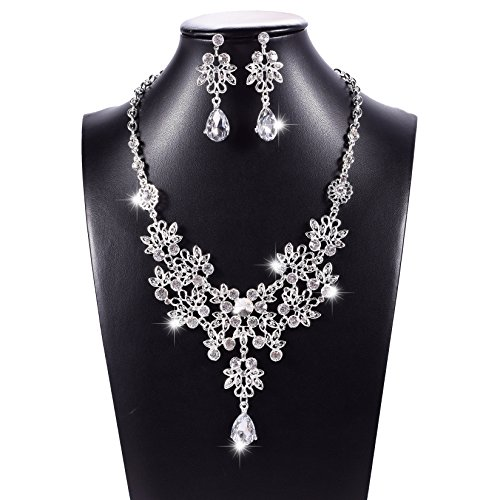 Prom Necklace Set - Fashion Rhinestone Bridal Jewelry Set Wedding Prom Party Necklace Earring Set (Silver)