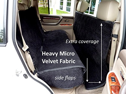 Formosa Covers Deluxe Micro Velvet Quilted and Padded Dog Car Back Seat Cover with Comfort Fabric Non-Slip Back Best for Car Truck and SUV - Travel with Your Pet Mess Free - Universal Fit, Black