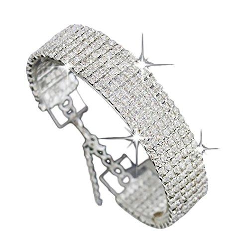 Womens Bracelet, Gillberry Crystal Rhinestone Bracelet Bangle Wedding Bridal Wristband (Contemporary Steel Bangle)